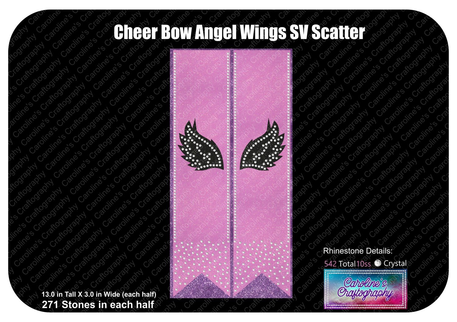 Cheer Bow Angel Wings Stone Vinyl Tail Scatter 3 inch