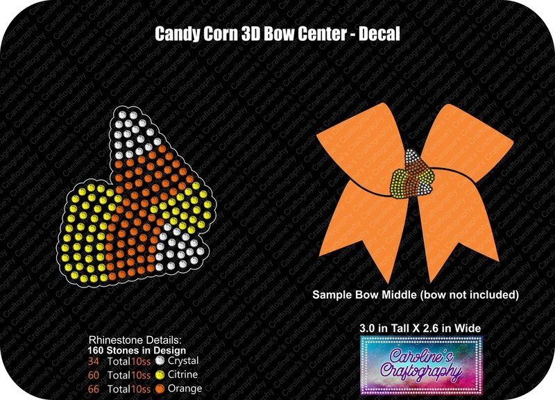 Candy Corn 3D Cheer Bow Middle 3inch Bow or Decal File
