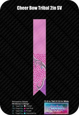 Cheer Bow Tribal Loops Tails Stone Vinyl 2 inch
