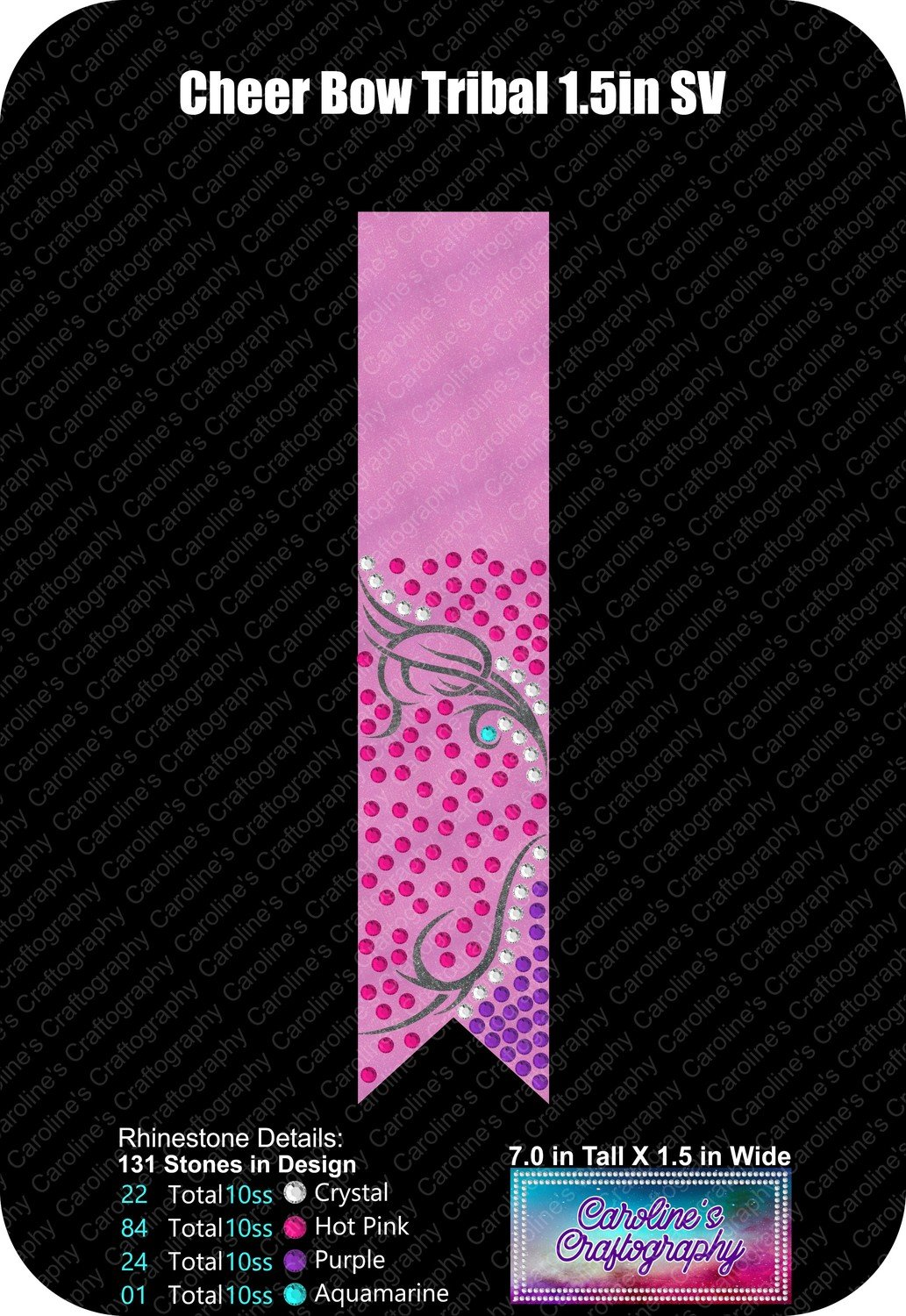 Cheer Bow Tribal Loops Tails Stone Vinyl 1.5 inch