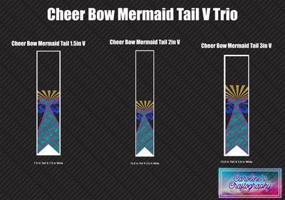 Cheer Bow Mermaid Tail Vinyl Trio