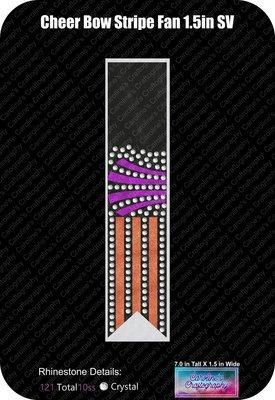 Cheer Bow Stripe Fan Stone Vinyl 1.5 inch