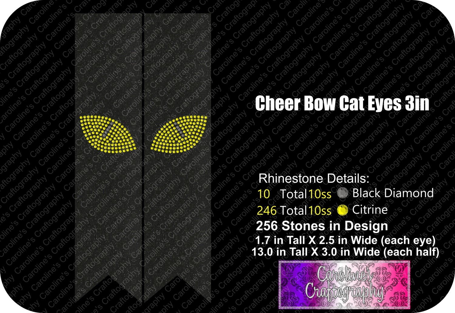 Cheer Bow Cat Eyes Stone 3in