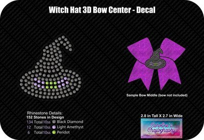 Witch Hat 3D Bow Center or Decal