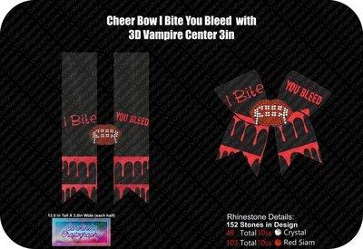 Cheer Bow Vampire 3D Center 3in Stone Vinyl