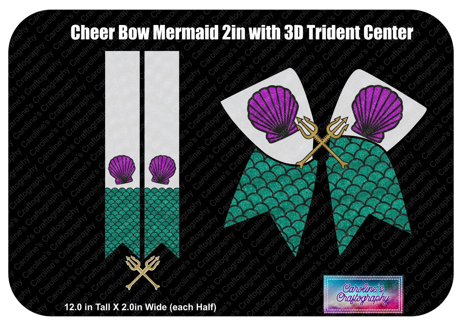 Cheer Bow Mermaid 3D Trident Center 2in Vinyl