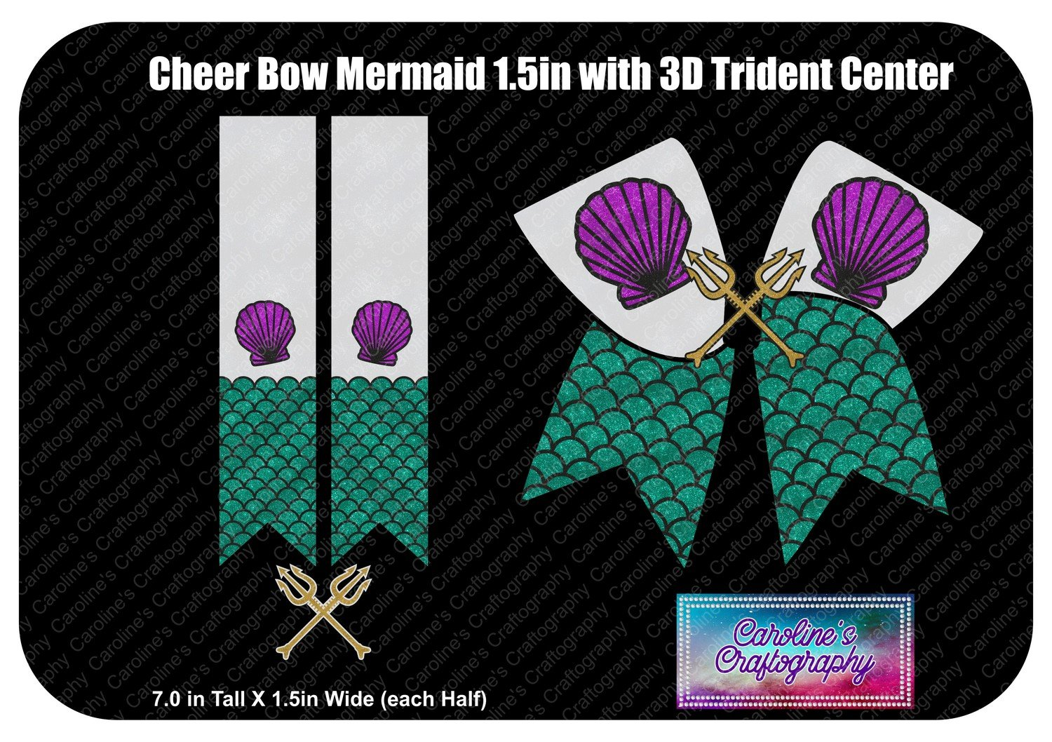 Cheer Bow Mermaid 3D Trident Center 1.5 inch Vinyl