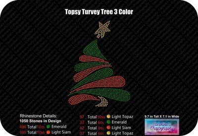 Topsy Turvey Tree 3 Color Rhinestone
