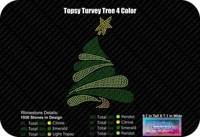 Topsy Turvey Tree 4 Color Rhinestone