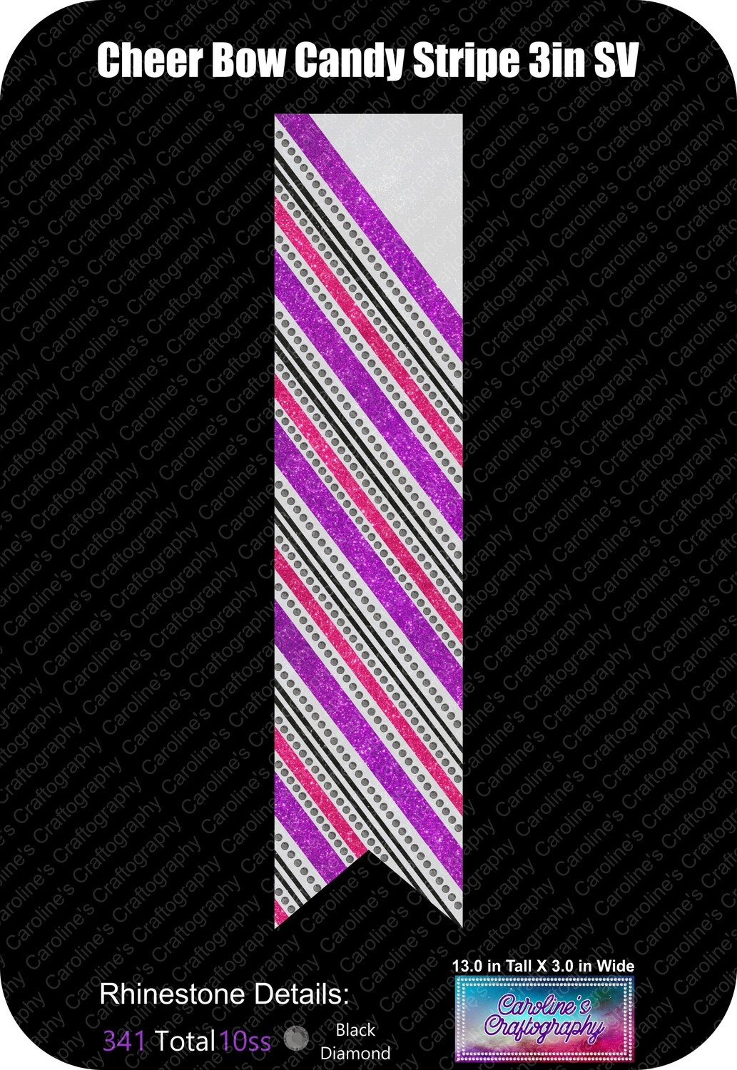 Cheer Bow Candy Stripe 3in Stone Vinyl