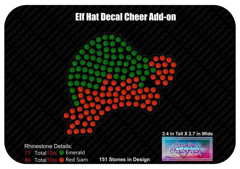 Elf Hat Cheer Bow Middle 3inch Bow or Decal File