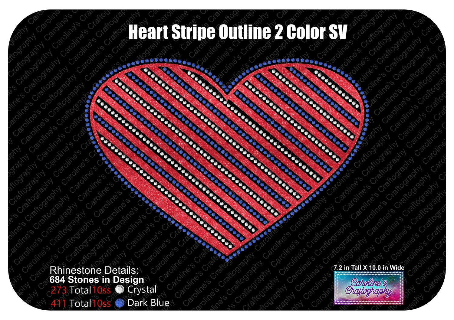 Heart Striped Outline 2 Color Stone Vinyl
