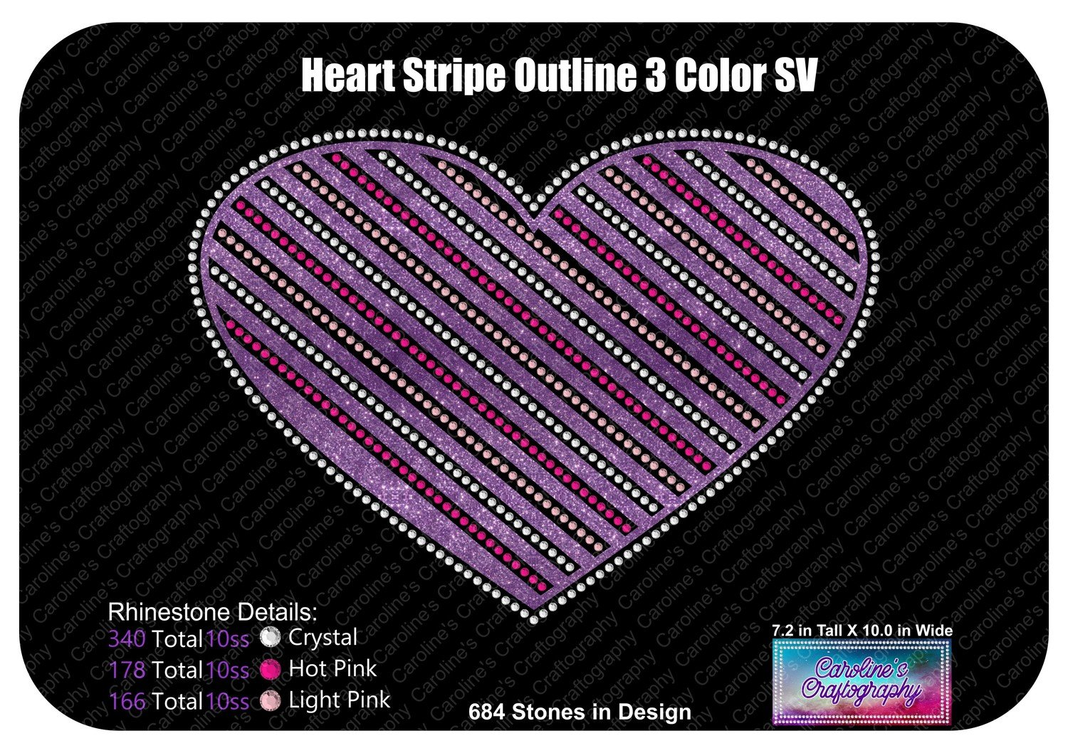 Heart Striped Outline 3 Color Stone Vinyl