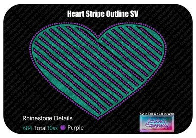 Heart Striped Outline Stone Vinyl