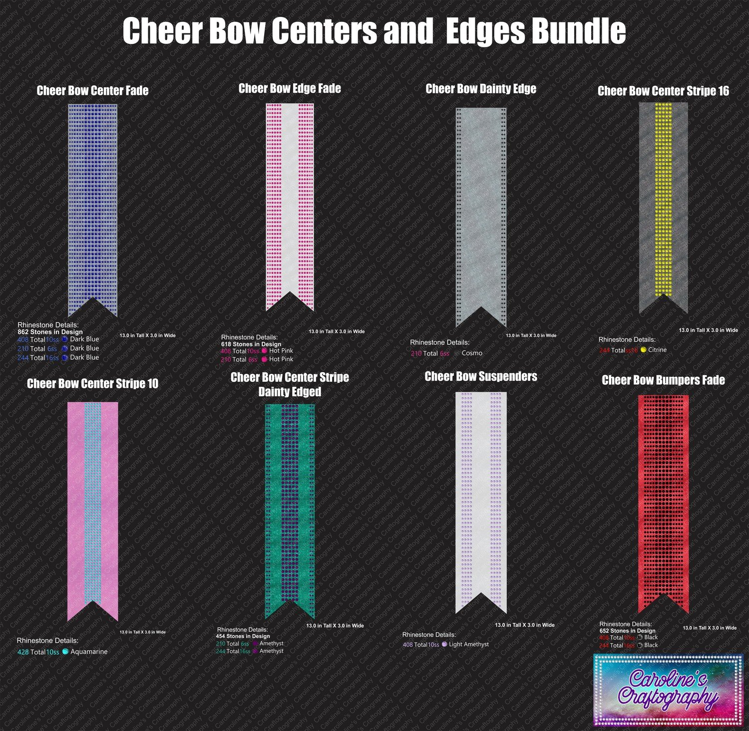 Cheer Bow Centers and Edges 3in Bundle Stone