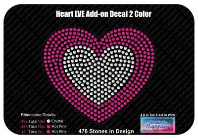 Heart LVE Add-on Decal 2 Color Stone