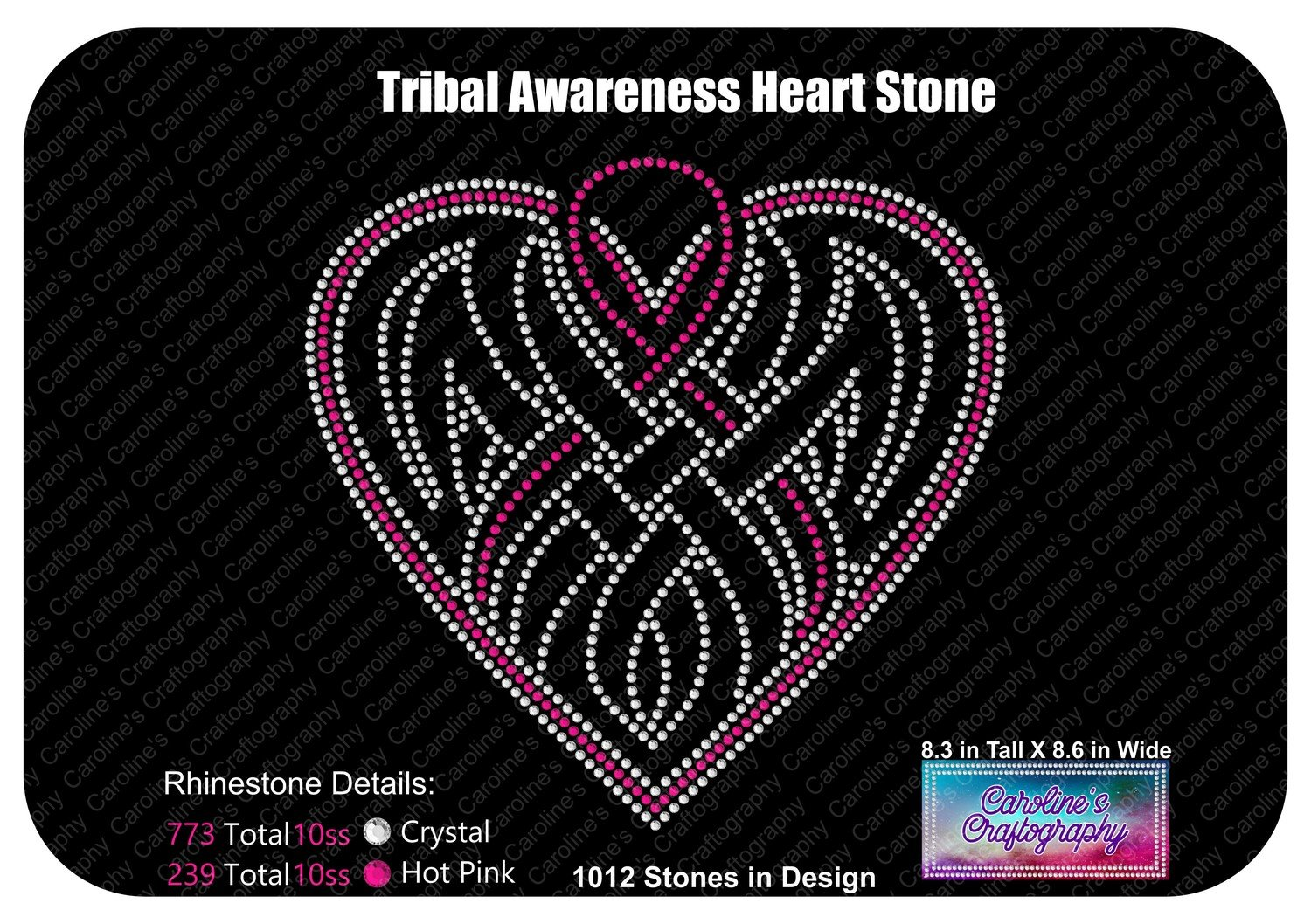 Tribal Awareness Ribbon Heart Stone