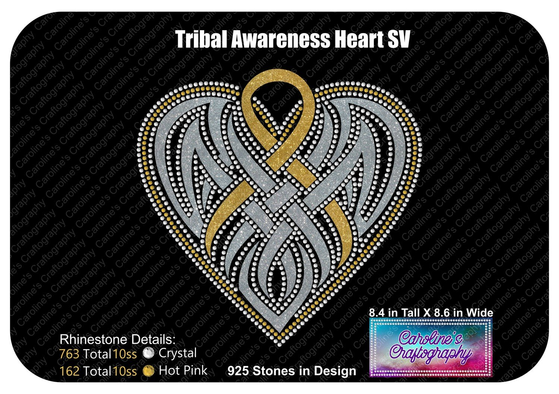 Tribal Awareness Ribbon Heart Stone Vinyl