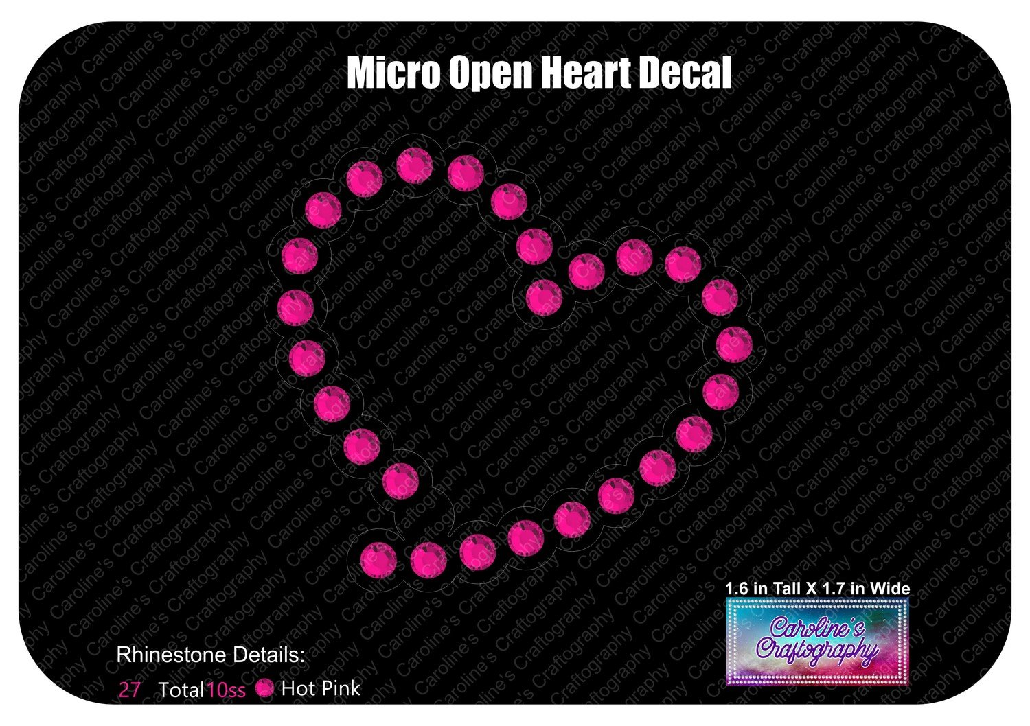 Micro Open Heart Decal Stone
