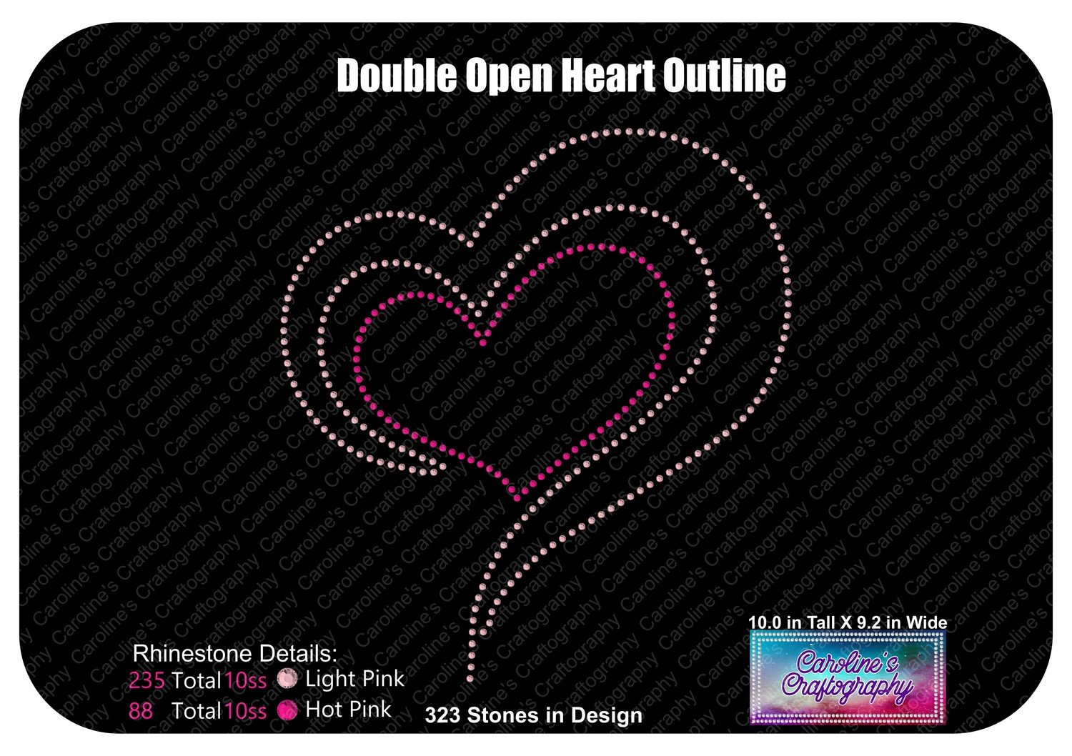 Double Open Heart Outline Stone