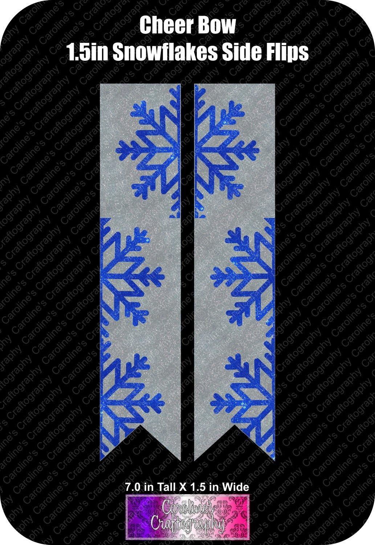 Snowflakes Side Flips 1.5in Cheer Bow Vinyl