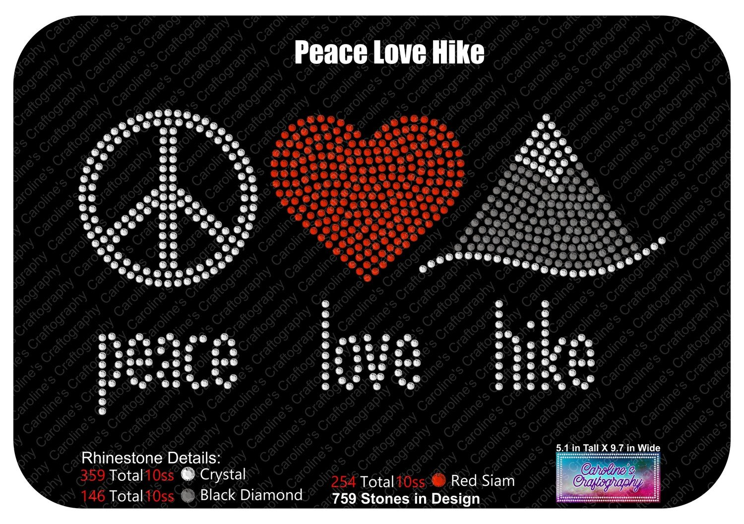 Peace  Love Hike Stone