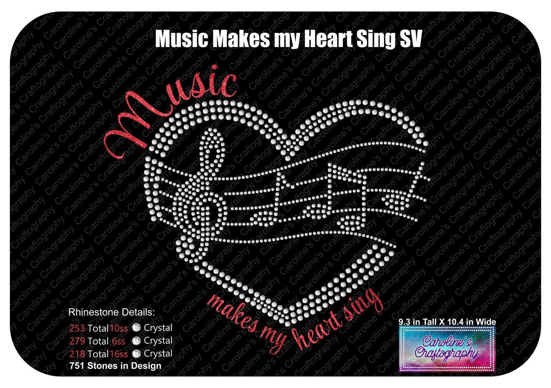 Music makes my heart sing Heart Staff Stone Vinyl