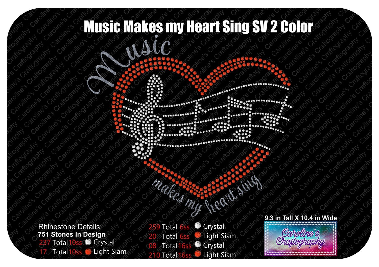 Music makes my heart sing Heart Staff 2 Color Stone Vinyl