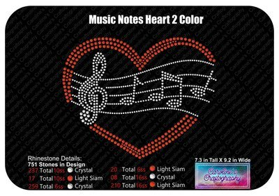 Music notes heart 2 color Stone