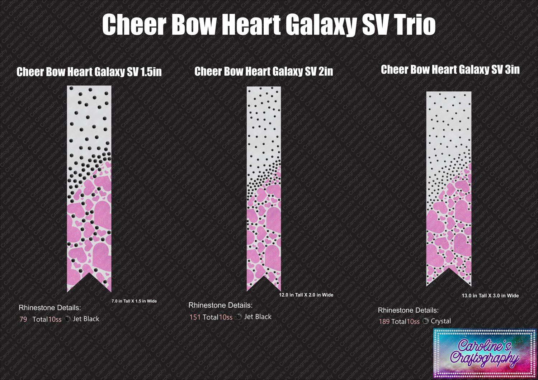 Heart Galaxy Cheer Bow Stone Vinyl Trio