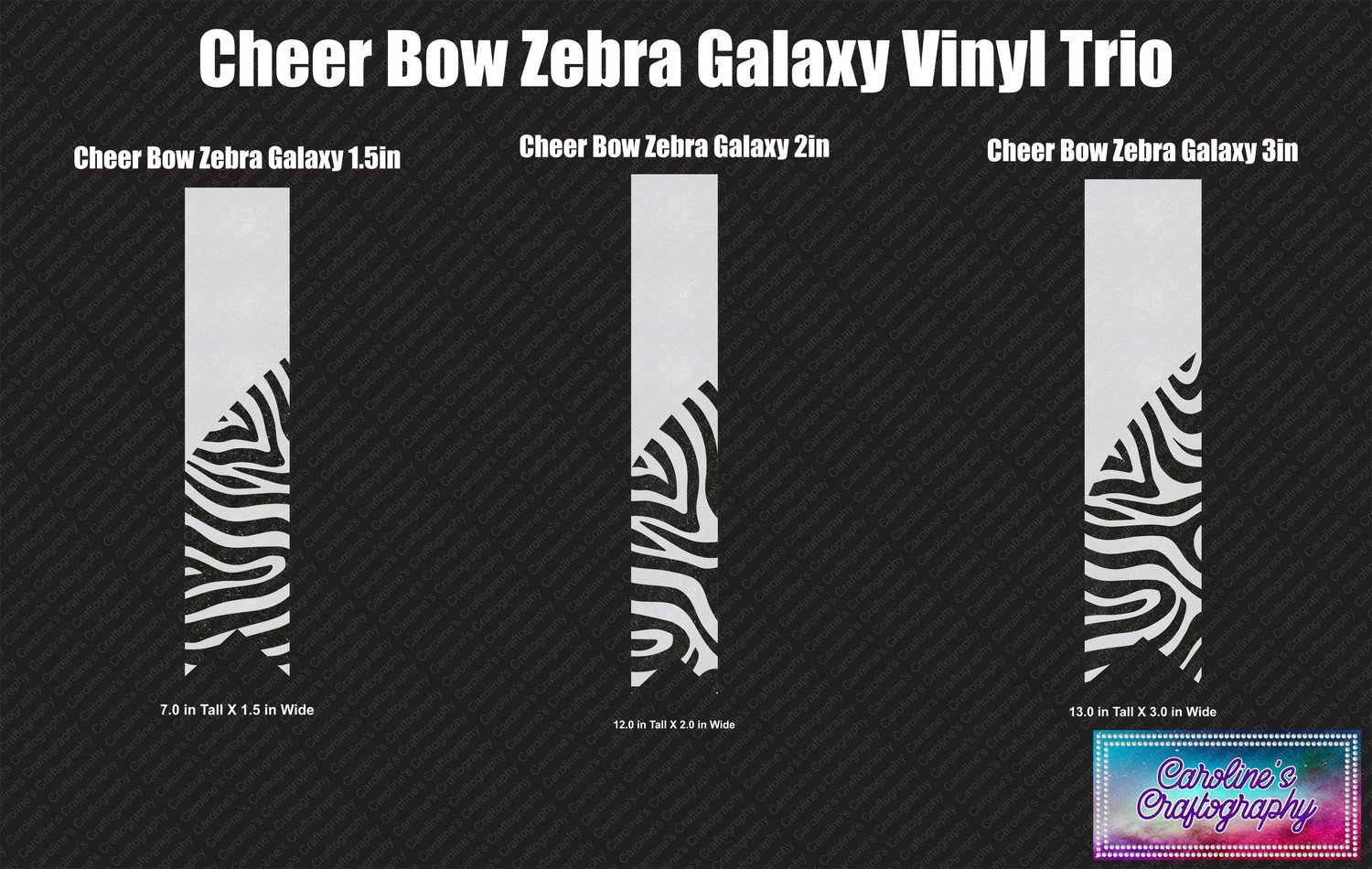 Zebra Galaxy Cheer Bow Vinyl Trio