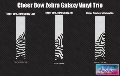 Zebra Galaxy Cheer Bow Vinyl Trio