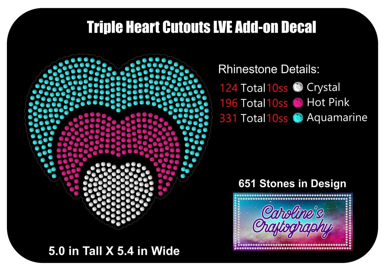 Triple Heart Cutouts LVE Add-on Decal Rhinestone