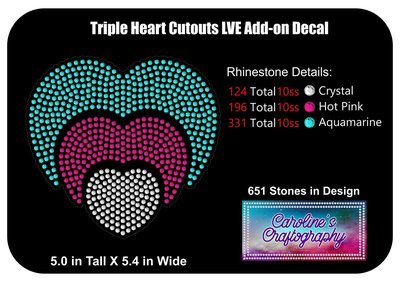 Triple Heart Cutouts LVE Add-on Decal Rhinestone