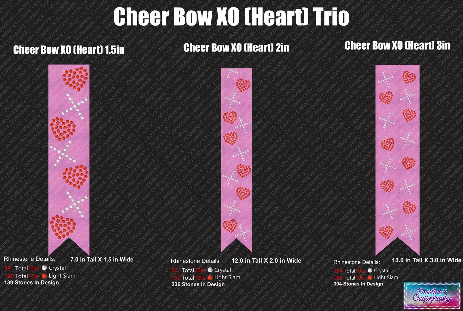 XO Hearts Cheer Bow Stone Trio