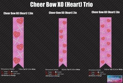 XO Hearts Cheer Bow Stone Trio