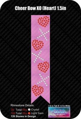 XO Hearts 1.5in Cheer Bow Stone