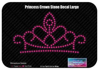 Princess Crown Rhinestone Decal Large
