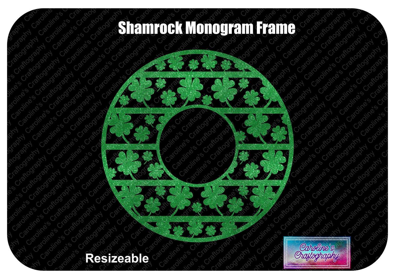 Shamrock Monogram Frame 1 Color Vinyl