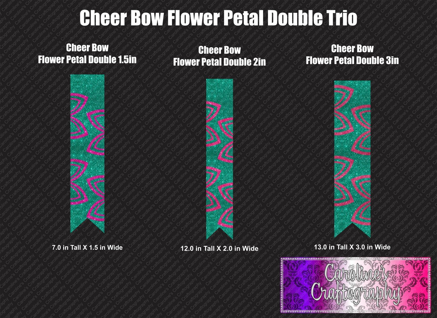 Flower Petal Double Cheer Bow Trio