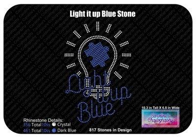 Autism Light it up Blue Rhinestone