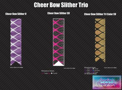 Cheer Bow Slither Trio 3in Bows