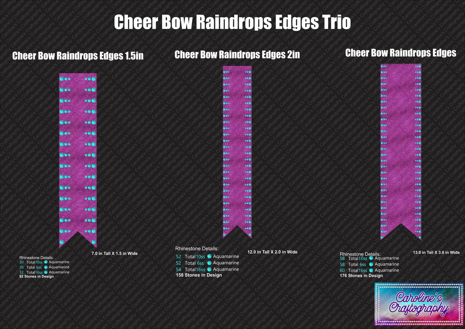 Cheer Bow Raindrops Edges Trio