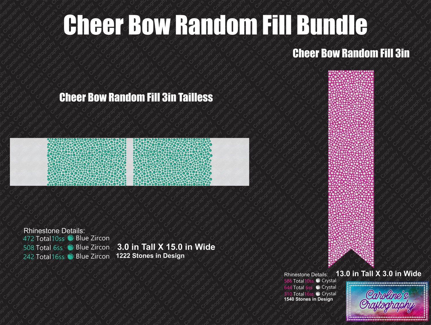 Cheer Bow and Tailless Random Fill Multi Stone 3in Bundle