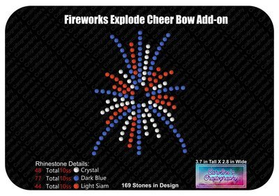 Fireworks Exploding Cheer Bow Add-on Stone