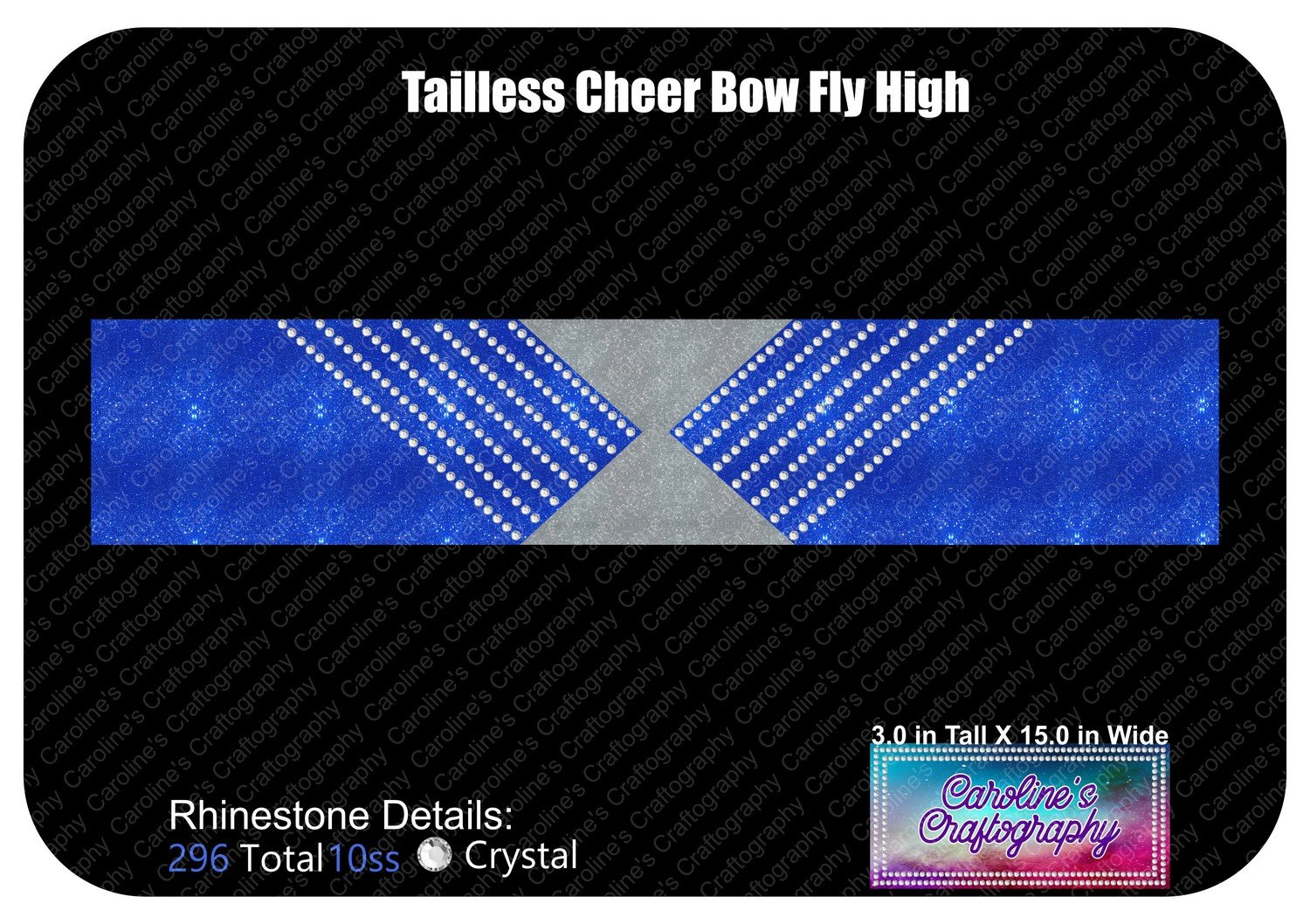 Tailless Cheer Bow Fly High 3in Rhinestone Vinyl
