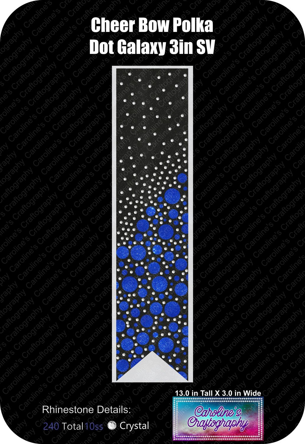 Polka Dot Galaxy Stone Vinyl Cheer Bow 3 inch