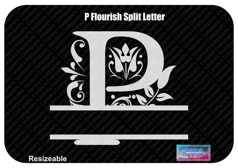 P Flourish Split Letter