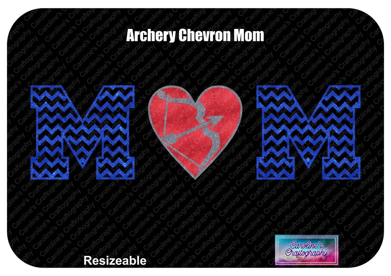 Archery Mom Chevron Letters Heart O