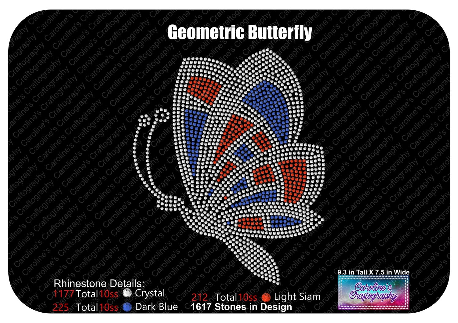 Geometric Butterfly Rhinestone Multi Color